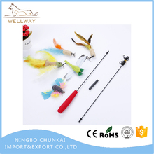Cat Wand with Teaser Toys Long Dangler Stick Fishing Rod with 5 Pieces Fun Teaser and bell Refill Pack for Cat and Kitten