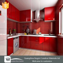 2015 high gloss red lacquer kitchen cabinets design with complete set appliance