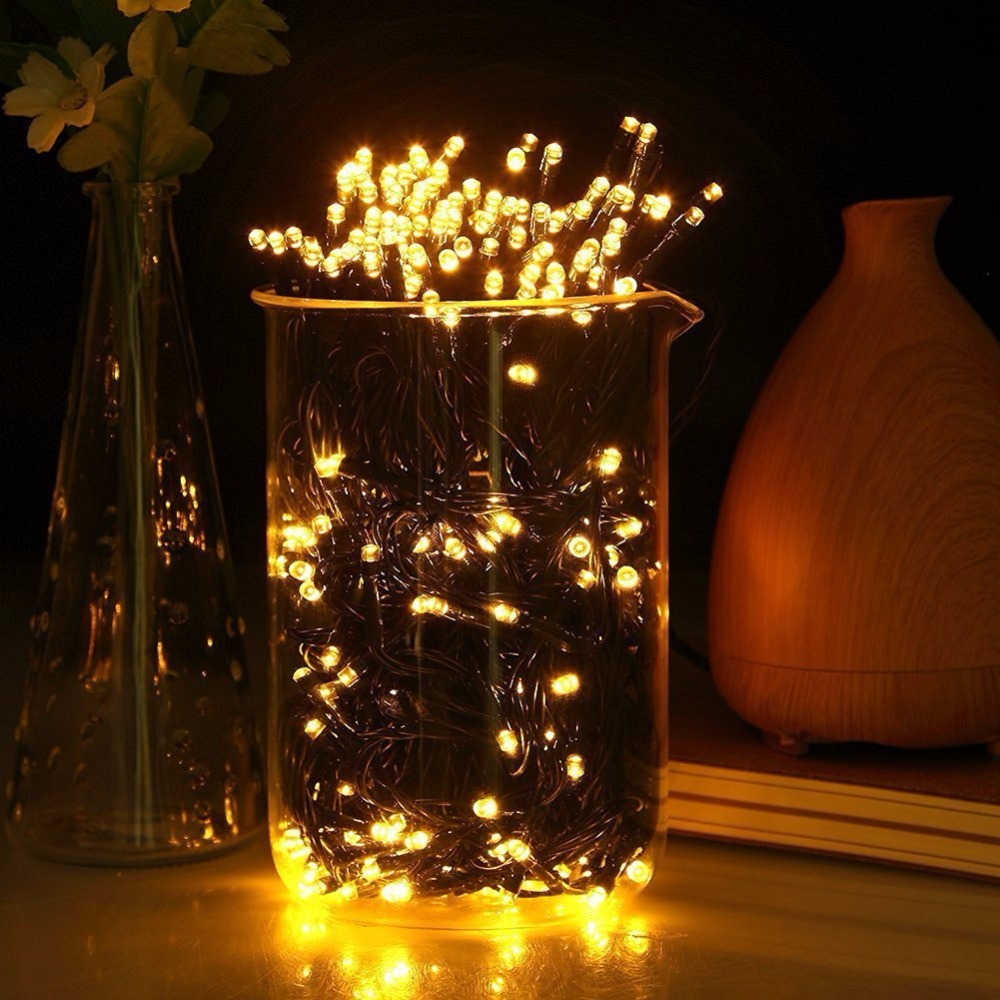 200 led outdoor waterproof warm white solar starry fairy string