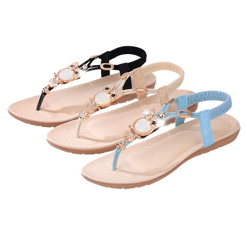 Fashion High Quality <strong>Flat</strong> Plus Size Sandals Women Shoes Comfort Rhinestone Flip-flops 36-42
