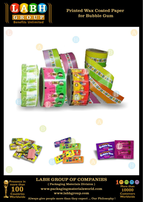 Printed Wax Coated Paper for Bubble Gum Packing