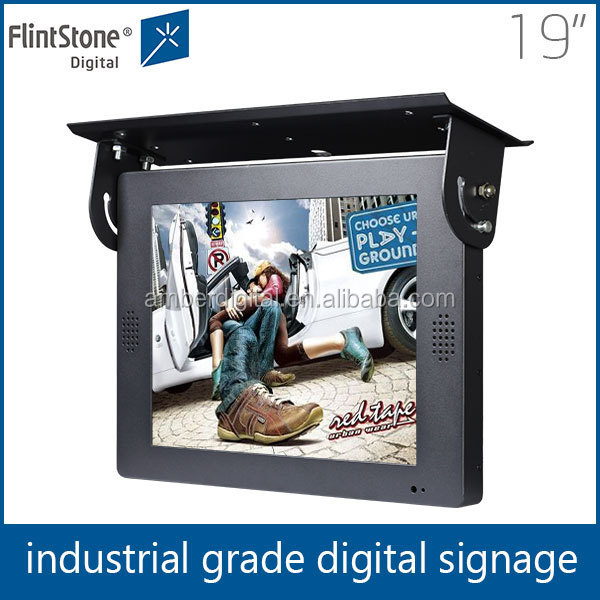 19 inch flintstone taxi lcd advertising display cheap flat taxi/bus mounting flat screen tv pop up display wholesale
