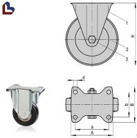 Plastic small fixed caster wheel