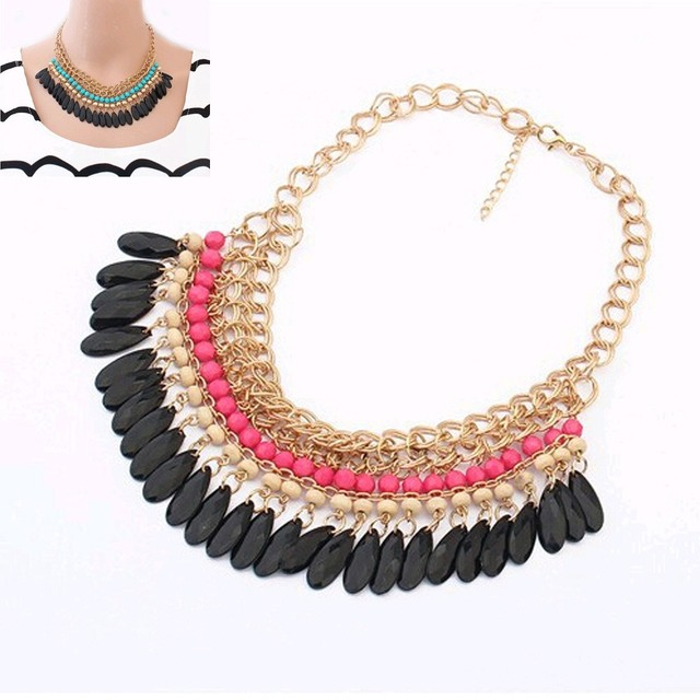 2015 Collier Femme statement resin beads Bohemian Necklaces and pendants gold necklace women Strain jewelry accessories
