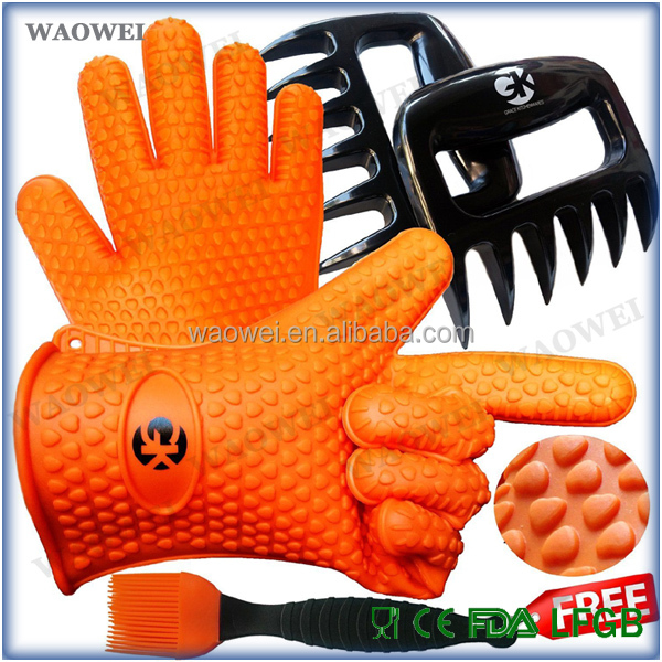 Barbecue Heat Proof Silicone Gloves Oven Grill BBQ Cooking Mitt Bear Claw Baster