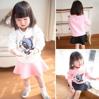 MS64027C spring new design dog prints girl outfits baby clothing