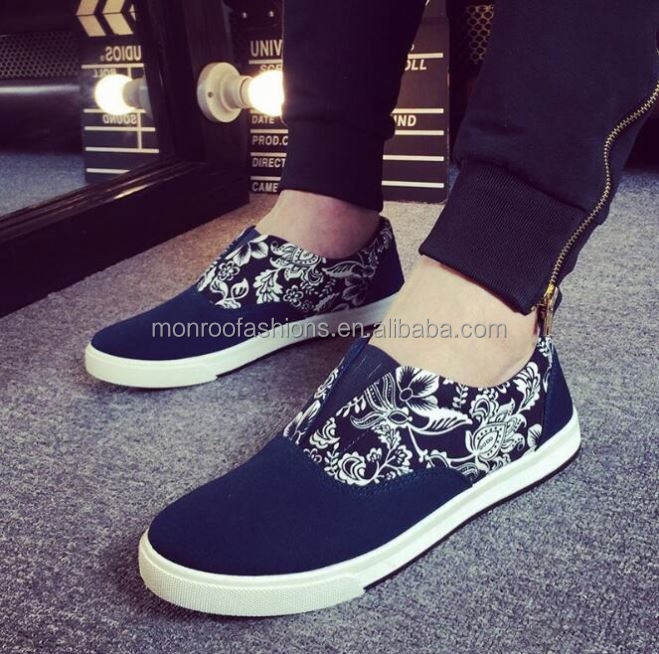 monroo factory outlet man casual shoes fancy floral fashion slip on men canvas sneaker shoes