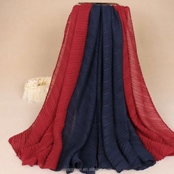 Mixed multi color wholesale new fashion muslim solid big maxi shawl two tone pleated hijab scarf