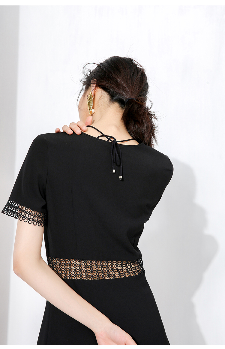 2017 latest design short sleeve V neck Hollow lace sexy bandage A-line dress