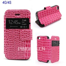 Wholesale Stand Window View Noble Crocodile Leather Flip Case for Iphone 4G/4S