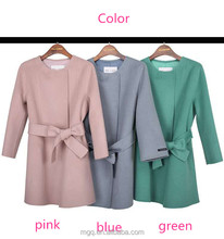 bow knot belt korean cashmere wool coat pink blue green short fashion