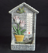 Cement bird feeder decoration thermometer