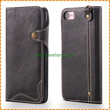 Wholesale Business Genuine Stand Wallet Leather Case For Iphone 7 plus with Card Holder