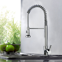 Modern Brass Kitchen Sink Faucet Single Handle Mixer Tap With Pull Down Sprayer
