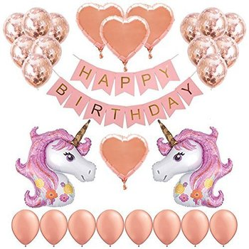 Unicorn Party Decorations For Kids With Rose Gold Confetti Balloons Pink Banner Heart Foil Latex Girls Birthday Party