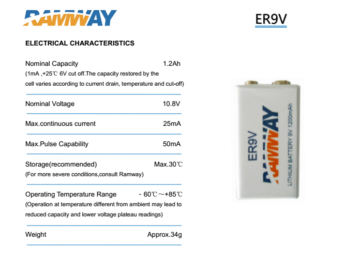 Ramway Lithium Primary Battery ER 9V for wireless sensors fire detectors