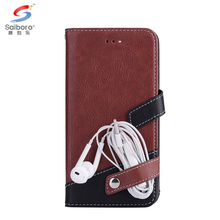 Contrast color litchi grain flip leather cell phone wallet case for samsung galaxy note 8