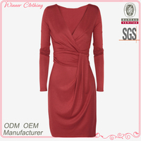 Direct factory high fashion waist pleated slim fit woman long sleeve muslim evening dress