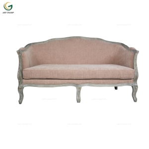 Living Room Leisure Furniture Pink Linen Stool Antique French Style Sofa Furniture