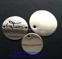 shiny round embossing metal dog tag, stamped glitter pet tags