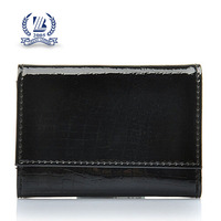 Black Unisex Crocodile Leather Credit Card Wallet