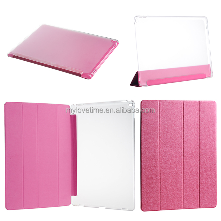 4 folding Pink tablet cover for ipad pro 12.9 inch