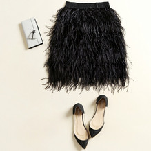 The ostrich hair The skirt fashion summer short black elastic waist feather skirt Skirt Women Clothing Wholesale