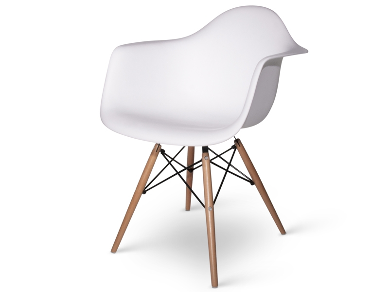 Molded Plastic Dining Chairs modern white molded armchair plastic dining chair with walnut wood