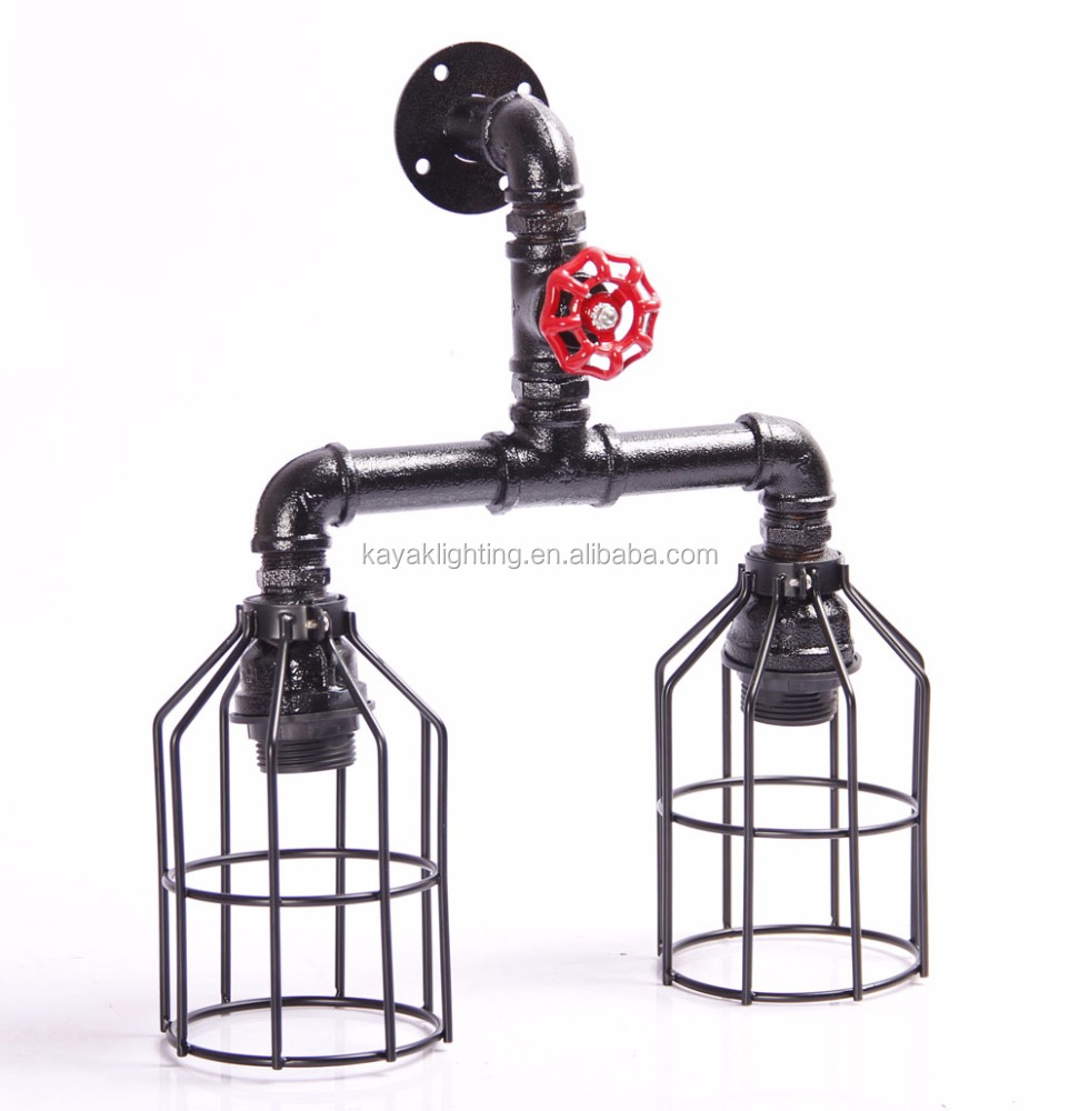 matt black Industrial Steampunk Art Edison bulb Pipe Metal Cage Pendant Lamp