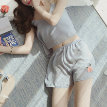 Summer Women Embroidery Pajamas Sling Sexy Flower Pajamas Suit