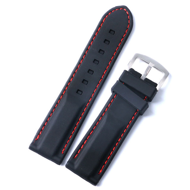 20mm 22mm 24mm Black Men and Women Band Width Silicone Wrist Watch Band Strap Stainless Steel Buckle + 2 Spring Bars