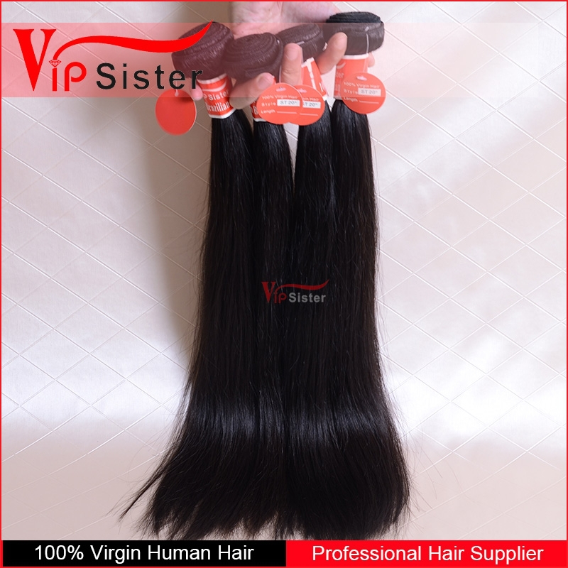 No acid bath no silicone mix 100% human brazilian hair weft straight hair