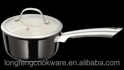 Light Weight Cast Iron Sauce Pan 2 1/2 Qt with Glossy Black Enamel Coating