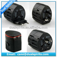 black 2 port world travel adapter 5v1a multipurpose travel adapter manufacturers,suppliers,exporters