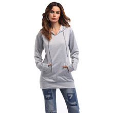 OEM Autumn Women Fashion Long Hoodies Casual Cotton Blend Grey Plain Hoodie Dress