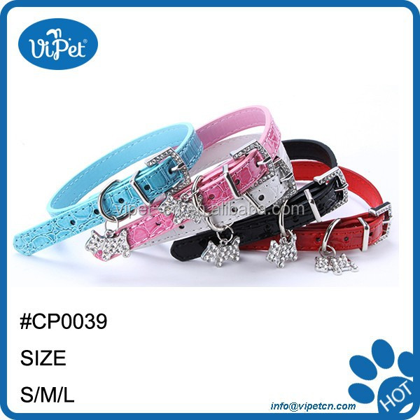 Cute Neck Strap Dog Crystal Pendant PU Leather Puppy Pet Collar Buckle