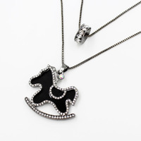 2 Row crystal accent horse pendant necklace cheap jewelry 2015