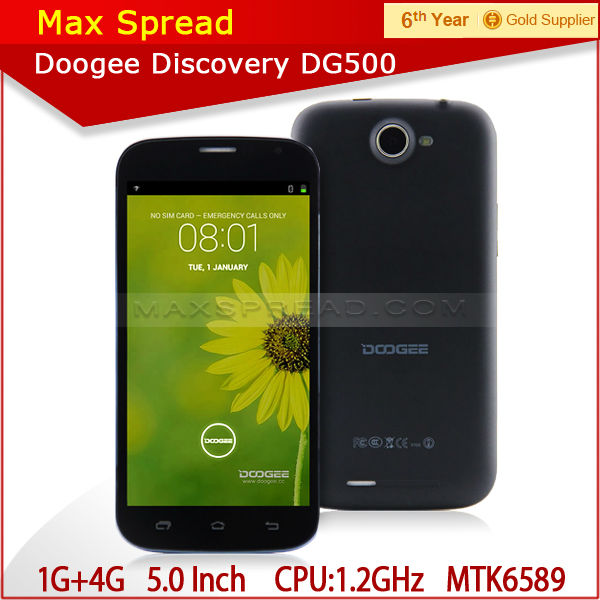 doogee dg500 mtk6582 1.2ghz quad core 1gb ram 4gb rom 5.0 inch QHD chinese cell phone