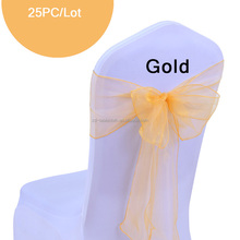 best-selling gold fancy chiffon organza chair sashes for weddings