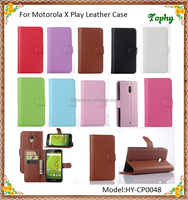 For Motorola X Play PU Leather + PC Litchi Pattern Wallet Card Stand Cover Holster Phone Sets Magnetic Flip Case