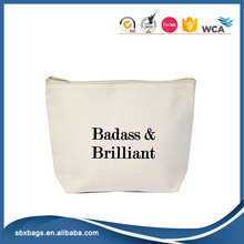 Natural Canvas Makeup Bag Tote Bag With Zipper Closure Badass & Brilliant