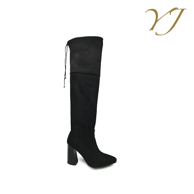 2016 New arrival import pu upper material sexy ladies black knee high boots