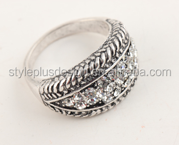 R62797A01 Antique silver color women crystal quality cheap trend rings hidden camera