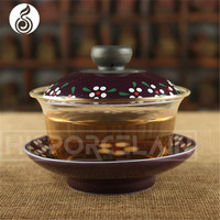glass cup wholesale handmade purple peony glass cup bulk tea cup and saucer sets