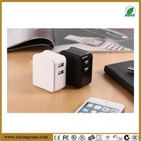 3.4A 17W Dual USB Travel Wall Charger with SmartID Technology, Foldable AC Plug for Apple iPhone iPad iPod