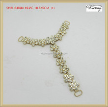 SHBU34034 Hight quality T shape metal chain heart, rhinestone chains for shoes boots decoration