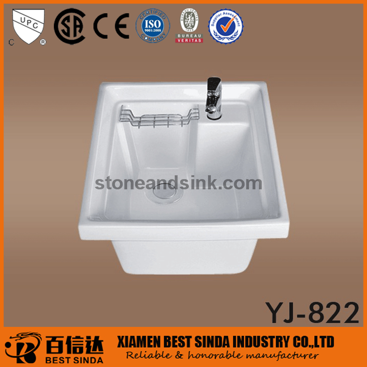 Vitreous china ceramic wash basin for laundry
