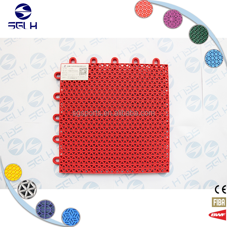 SGLH SG12 High-strength Polypropylene indoor no pollution anti-fading indoor sports court/interlocking sport court tiles