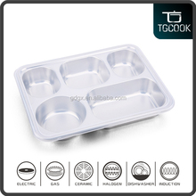 Stainless Steel Serving food Tray with Cover and 5 Compartments