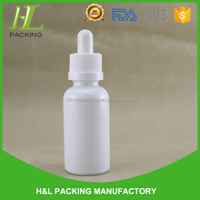 White shiny 15ml 30ml e liquid glass dropper bottles for e-juice with childproof dropper and printing labels